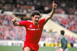 Ian rush celebrates scoring at Wembley for Liverpool.