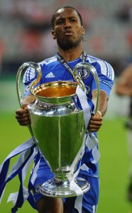 Drogba celebrates scoring the winning goal in the Champions League final.