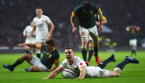 George Ford celebrates with passion after scoring a try against the Springboks. (Credit: Laurence Griffiths)