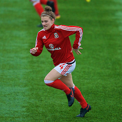 MERTHYR, WALES - Tuesday, February 14, 2017: Wales' Bronwen Thomas warms-up before a Women's Under-17's International Friendly match against Hungary at Penydarren Park. (Pic by David Rawcliffe/Propaganda)