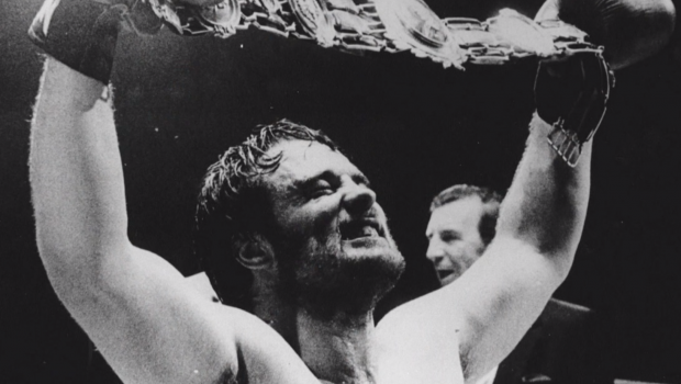Screenshot from the BBC Wales documentary Mavericks: Sports Lost Heroes: Bomber: Newport's Rocky